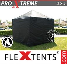 Pop up canopy Xtreme 3x3 m Black, Flame retardant, incl. 4 sidewalls