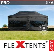 Pop up canopy PRO 3x6m Black, incl. 6 sidewalls