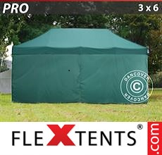 Pop up canopy PRO 3x6 m Green, incl. 6 sidewalls