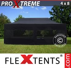 Pop up canopy Xtreme 4x8 m Black, incl. 6 sidewalls