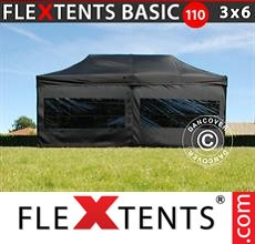 Pop up canopy Basic 110, 3x6 m Black, incl. 6 sidewalls