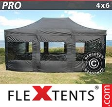 Pop up canopy PRO 4x6 m Black, incl. 8 sidewalls