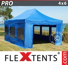 Pop up canopy PRO 4x6 m Blue, incl. 8 sidewalls