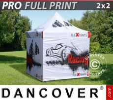 Pop up gazebo FleXtents PRO with full digital print, 2x2 m, incl. 4 sidewalls