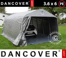 Portable Garage PRO 3.6x6.0x2.68 m PE, with ground cover, Grey