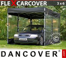 Portable Garage FleX Carcover, 3x6 m, Black