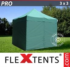 Racing tent PRO 3x3 m Green, incl. 4 sidewalls