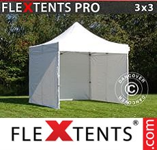 Racing tent FleXtents PRO 3x3 m White, incl. 4 sidewalls