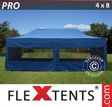 Racing tent PRO 4x8 m Blue, incl. 6 sidewalls