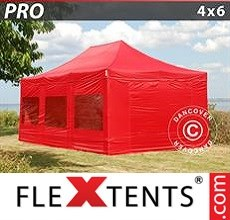 Racing tent PRO 4x6 m Red, incl. 8 sidewalls