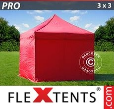 Racing tent PRO 3x3 m Red, incl. 4 sidewalls