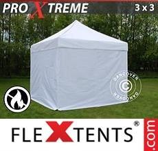 Racing tent Xtreme 3x3 m White, Flame retardant, incl. 4 sidewalls