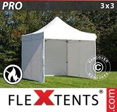 Racing tent PRO 3x3 m White, Flame retardant, incl. 4 sidewalls