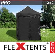 Racing tent PRO 2x2 m Black, incl. 4 sidewalls
