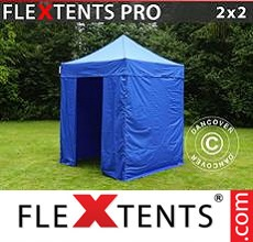 Racing tent FleXtents PRO 2x2 m Blue, incl. 4 sidewalls
