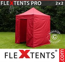 Racing tent FleXtents PRO 2x2 m Red, incl. 4 sidewalls