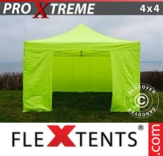 Racing tent Xtreme 4x4 m Neon yellow/green, incl. 4 sidewalls