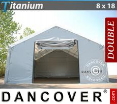 Shelter Titanium 8x18x3x5 m, White / Grey