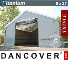 Shelter Titanium 8x27x3x5 m, White / Grey