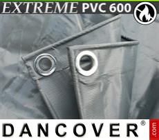 Tarpaulin 6x10 m PVC 600 g/m² Grey, Flame retardant