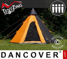 Camping tents Teepee,  TentZing®, 4 persons, Orange/Dark Grey