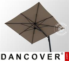Cantilever parasol w/base, Galaxia Astro Carbon, 3x3m, Grey Taupe