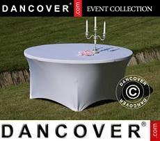 Stretch table cover, Ø152x74 cm, White