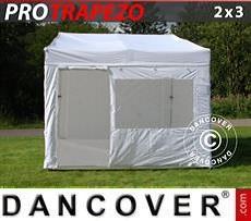 Pop up gazebo FleXtents PRO Trapezo 2x3m White, incl. 4 sidewalls