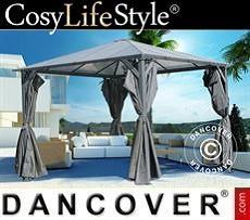 Garden gazebo sidewalls and mosquito net, 3x3m, Dark Grey