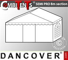 2m end section extension for Semi PRO CombiTent, 8x2m, PVC, White