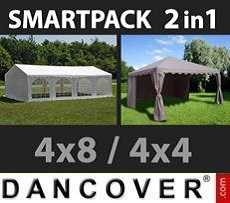 Party Marquee Original 4x8m, White/Gazebo 4x4m,