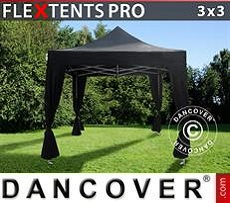 Party Marquee PRO 3x3 m Black, incl. 4 decorative curtains