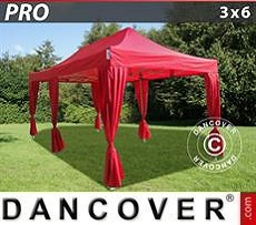 Party Marquee PRO 3x6 m Red, incl. 6 decorative curtains