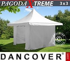Party Marquee Pagoda Xtreme 3x3 m / (4x4 m) White, incl. 4 sidewalls