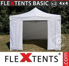 Pop up canopy Basic v.2, 4x4m White, incl. 4 sidewalls