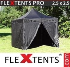 Pop up canopy PRO 2.5x2.5 m Black, incl. 4 sidewalls