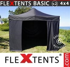 Pop up canopy Basic v.2, 4x4m Black, incl. 4 sidewalls