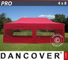 Pop Up Marquee PRO 4x8 m Red, incl. 6 sidewalls