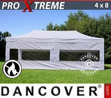 Pop Up Marquee Xtreme 4x8 m White, Flame retardant, incl. 4 sidewalls