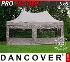 Pop Up Marquee PRO Peak Pagoda 3x6 m Latte, incl. 6 sidewalls