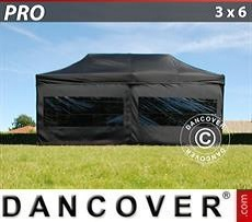 Pop Up Marquee  PRO 3x6m Black, incl. 6 sidewalls