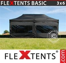 Racing tent Basic v.2, 3x6 m Black, incl. 6 sidewalls