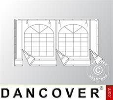 Endwall w/large window and wide door, 4m, Flame retardant PVC, White