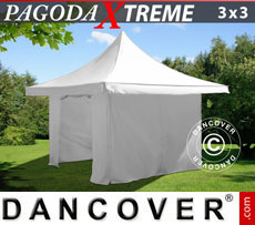 Pop up gazebo FleXtents Pagoda Xtreme 3x3 m / (4x4 m) White, incl. 4 sidewalls