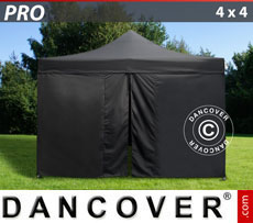 Pop up gazebo FleXtents PRO 4x4 m Black, incl. 4 sidewalls