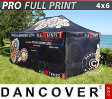 Pop up gazebo FleXtents PRO with full digital print, 4x6 m, incl. 4 sidewalls