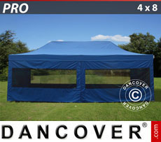 Folding canopy FleXtents PRO 4x8 m Blue, incl. 6 sidewalls