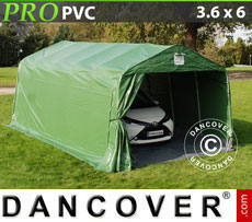 Portable Garage PRO 3.6x6.0x2.7 m PVC, with ground cover, Green / Grey