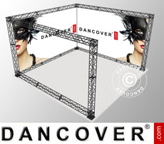 Truss display U-Shape 4x4m, incl. banner with single-sided print