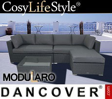 Poly rattan Lounge Sofa, 2 modules, Modularo, Black